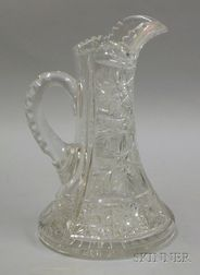Colorless Brilliant Cut Glass Pitcher.